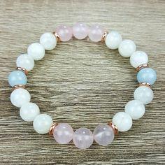 Moonstone, Rose Quartz, Aquamarine, & Rose Gold bracelet