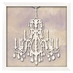 Framed giclee print of a chandelier in silhouette.