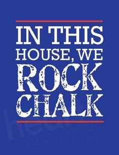 "jayhawk sports team blue wall art ""in this house we ROCK CHALK"" - digital file… Kansas Basketball, Basketball Season, Sports Basketball, Basketball Players, Go Ku, Gymnastics Quotes, University Of Kansas, Kansas City, My New Room"
