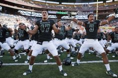 "Hawaii Warriors linebackers Kamalani Alo (47) and T.J. Taimatuia (3) lead the Hawaii football team in a ""haka"" before the start of the first quarter of the NCAA college football game against the Nevada Wolf Pack at Aloha Stadium. (Marco Garcia-USA TODAY Sports)"