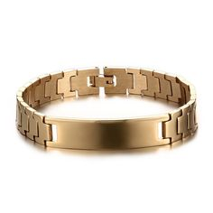 2017 Stainless Steel Id Gold Plated Bracelet For Men Jewelry Gift Hombre