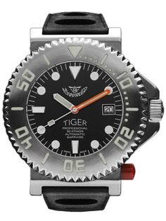 Squale Tiger-Black 300 meter Professional Swiss ETA Automatic Dive watch with Sapphire Crystal, Superluminova treated hands, markers, and bezel.
