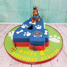 Fancy fourth birthday cake with Chase, Paw Patrol cake for children's birthday Paw Patrol Chase Cake, Paw Patrol Torte, Paw Patrol Birthday Cake, Fourth Birthday, Card Birthday, Birthday Greetings, Birthday Ideas, Happy Birthday, Snowflake Wedding Cake