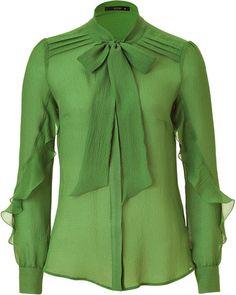 ETRO Green Sheer Silk Top