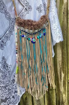 Handmade Gray Suede Fringe Bag Boho Hippie Hobo OOAK Whimsical Ibiza Purse B.Joy | eBay