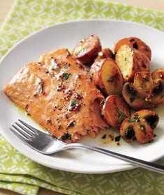 Roasted Salmon with Potatoes and Mushrooms  *I've made this several times, and it's not only super yummy, but really easy!*