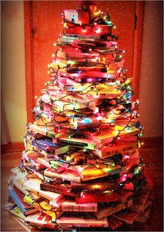 "Another ""use what you have"" Christmas tree for the book lovers of the world!"