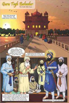 Guru Tegh Bahadur - The Ninth Sikh Guru (English Graphic Novel) Incredible India Posters, Guru Hargobind, Baba Deep Singh Ji, Guru Tegh Bahadur, Arabic Characters, Guru Arjan, Guru Nanak Wallpaper, Harmandir Sahib, Sri Guru Granth Sahib