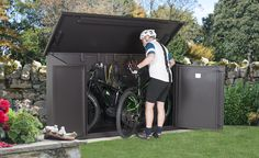 Rubbermaid Plastic Outdoor Bike and Boat Storage Shed - Yours Shed Builders Outdoor Bike Storage, Porch Storage, Boat Storage, Backyard Storage, Bike Storage Dimensions, Electric Bike Storage, Bike Storage Options, Storage Ideas, Solid Sheds