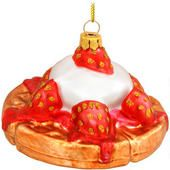 Strawberry Waffle With Whipped Cream Glass Ornament