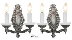 Art Deco Double Arm Candle Sconces (ANT-427) #vintage #reproduction #recreation #antique #art #deco #nouveau #doorknob #hardware #lighting #unique #switchplate #victorian #hinge #brass #cast #metal #eastlake #windsor #shade #crystal #glass #electrical #cover #gang #plate #pendant #arts #crafts #mission #period #decor #rail #railing #rococo #romantic #beaux #newel #post #knight #induction #grow #heat #lamp