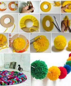 Cute Colorful DIY Pom-Pom Crafts and Ideas [Video Included] Diy Pom Pom Rug, Pom Pom Crafts, Pom Poms, Home Decor Hacks, Easy Home Decor, Handmade Home Decor, Decor Ideas, Diy Ideas, Craft Ideas