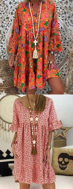 Womens Fashion Online, Latest Fashion For Women, Fashion Women, Couples African Outfits, Fashion Through The Decades, Frock Patterns, Denim Crafts, Plus Size Casual, Floral Tunic