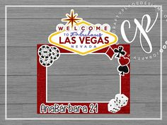 Birthday / Shower / Bachelorette / Vegas photo booth cutout frame prop ··· Marco gigante de fotos de Las Vegas para cumpleaños / despedida de soltera ··· www.craftyplacedesigns.com