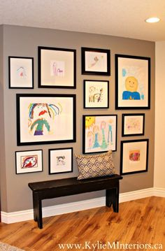 art gallery or kids artwork hanging ideas for any large wall or in your family room. Shown on Sherwin Williams Pewter Tankard art gallery or kids artwork hanging ideas for any large wall or in your family room. Shown on Sherwin Williams Pewter Tankard Kids Art Galleries, Wall Galleries, Photowall Ideas, Artwork Display, Art Wall Kids Display, Display Ideas, Artwork Wall, Hang Kids Artwork, Hanging Kids Art