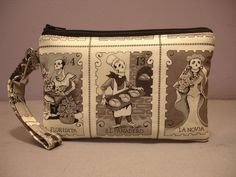 Sugar Skull Stamp (Sepia) Small Wristlet. Get it while it's in stock! Just 2 left!! and check out the other bags!! @ www.blacknook.com
