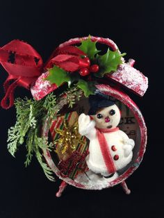 Christmas Snowman Assemblage Clock~  Retro Holiday Decor, Vintage Snowman Ornament, Vintage Christmas Diorama, Altered Holiday Decoration
