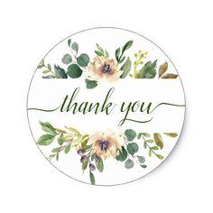 Anemone Greenery Thank You Floral Chic Boho Garden Classic Round Sticker #zazzlemade #bohochic #winterwedding #fallwedding