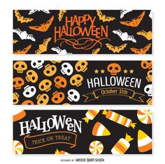 Set of three Halloween banners featuring silhouettes and drawings of bats…