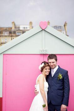 Beach Huts, Balloons & Shades of Pink and Green – A Beautiful Brighton Wedding… Bridal Shoot, Wedding Shoot, Wedding Blog, Wedding Cake, Wedding Ideas, Beach Wedding Photos, Seaside Wedding, Wedding Pictures, Balloon Shades