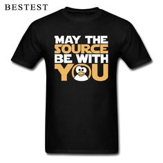 Star Wars T-shirt Men Linux T Shirt May The Source Be With You Tux Tops Tees Penguin Programmer Funny Tshirt Star Force Letter Programmer Humor, Star Force, Shirt Men, T Shirt, Star Wars Tshirt, Smart Casual, Linux, Penguin, Sleeve Styles