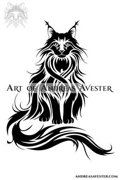 Tribal Design - Art of Andreas Avester Sheep Drawing, Cat Drawing, Tribal Horse Tattoo, Maine Tattoo, Tribal Drawings, Cat Profile, Chat Maine Coon, Cat Tattoo Designs, Cat Silhouette