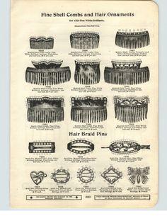 1900 PAPER AD 4 PG Turtle Toutoise Shell Hair Comb Ornament Mottled | eBay