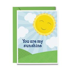 You Are My Sunshine Card from Tickled Peach Studio // Kids Greeting Cards