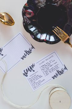 Brush Lettering Free Printable Recipe Cards