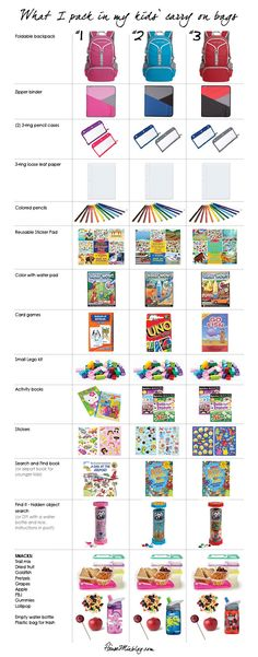 Binder of activities for kids on the plane What I pack in my three kids carry on bags – activity binder and snacks