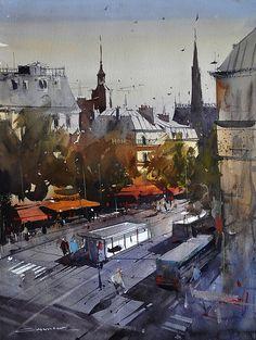 Paris by Eugen Chisnicean Watercolor ~ 60cm x 45cm