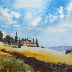FRee- VIDEO LESSON-Watercolor Landscape of a Vineyard