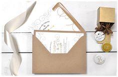 Debonair Wedding Invite Suite with Ribbon | Kraft envelope invitation | Smitten On Paper