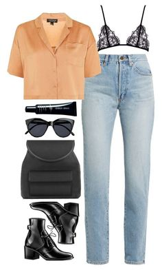 """Untitled #323"" by lindsjayne ❤ liked on Polyvore featuring Yves Saint Laurent, Topshop, Le Specs and Armani Beauty"