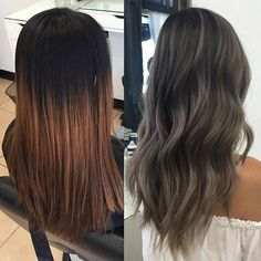 "Ash grey transformation Started with 6"" regrowth and an ombre over box dye…"