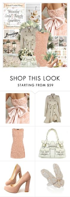 """""""Darling."""" by helleka ❤ liked on Polyvore featuring PLANT, RED Valentino, Dorothy Perkins, Valentino, Randa, Noir Jewelry, top handle bags, suede pumps, butterfly rings and ruffled trench coats"""