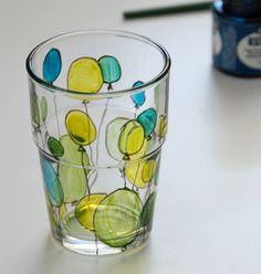 Painting on Glasses. This might be fun to have the kids make a set for the grandparents.