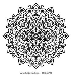 Vector Illustration East Outline Mandala Coloring Page