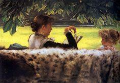 Reading A Story by James Tissot (1836 - 1902, French)