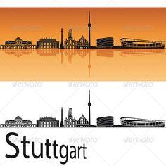 Stuttgart Skyline in Orange Background
