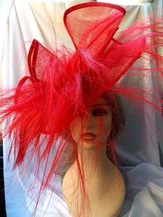 Sombrero Rojo Sinamay y Crin Sombrero Ascot Sombrero Rojo Sombreros Rojos 9d74ea67ec9