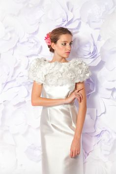 Silk zibelline column gown worn with flower garden shoulder Cape by Lesley de Freitas