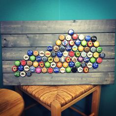 The sun shines bright on my old Kentucky home... DIY state bottle cap craft