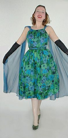 50s Vintage Blue & Green Flowers Silk Party Dress sold by denisebrain