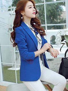 e93e746a70 Fashion Style Plain Lapel Slim OL Women s Blazer