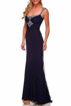 Badgley Mischka Dark purple Beaded Neckline Beautiful Dress Gown