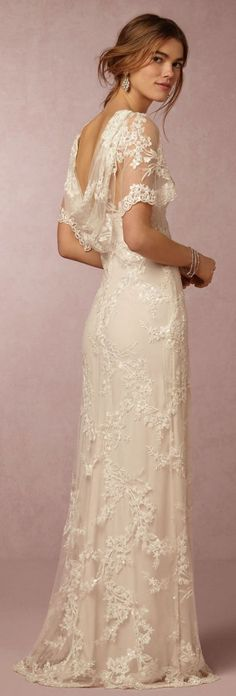 Vintage inspired lace wedding gown