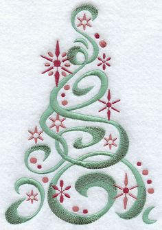 Christmas Iron On Embroidery Patterns | Sweet wintry snowflakes make this Christmas tree sparkle and shine.