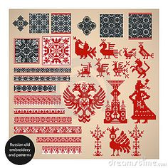 Russian old embroidery and patterns by Laralova, via Dreamstime