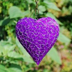 Hanging Silver Mirror Mosaic Heart Ornament For The Garden Or Home Purple Love, All Things Purple, Purple Lilac, Purple Glass, Shades Of Purple, Purple Hearts, Big Hearts, Purple Stuff, Ornaments Design